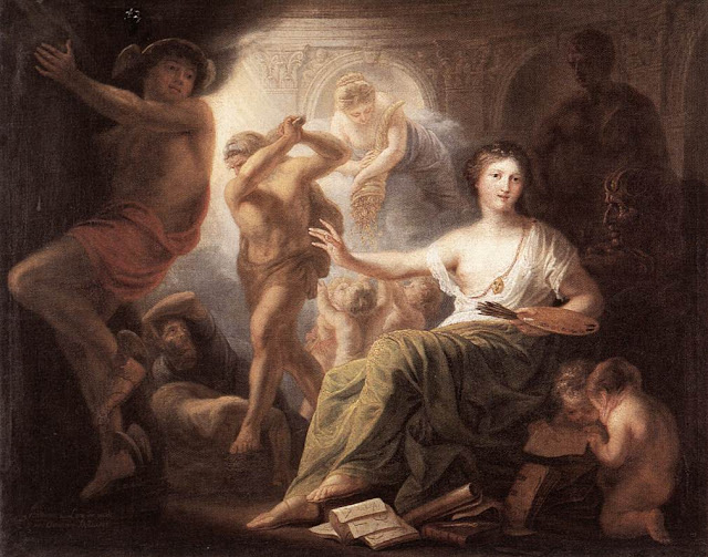 Painting from 1763 of Hercules protecting painting from Ignorance and Envy