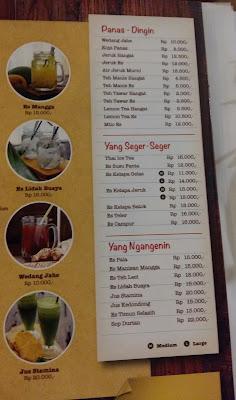 menu minuman di Bebek Kaleyo