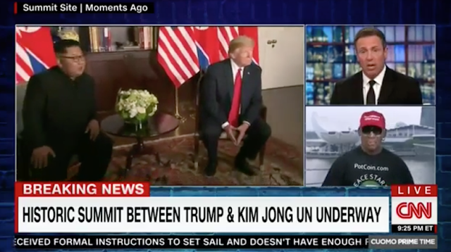 Dennis Rodman Wears Trump 'Make America Great Again' Hat During CNN Singapore Summit Interview