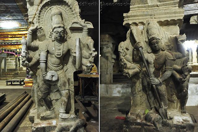 Pudukottai Brahadambal Arai Kasu Amman Temple Sculptures