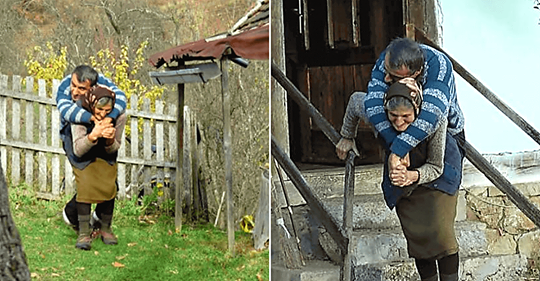 «Материнская любовь»: 77-летняя мама носит неподвижного сына почти 60 лет