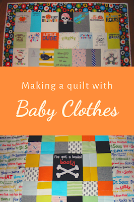 Making a quilt with baby clothes