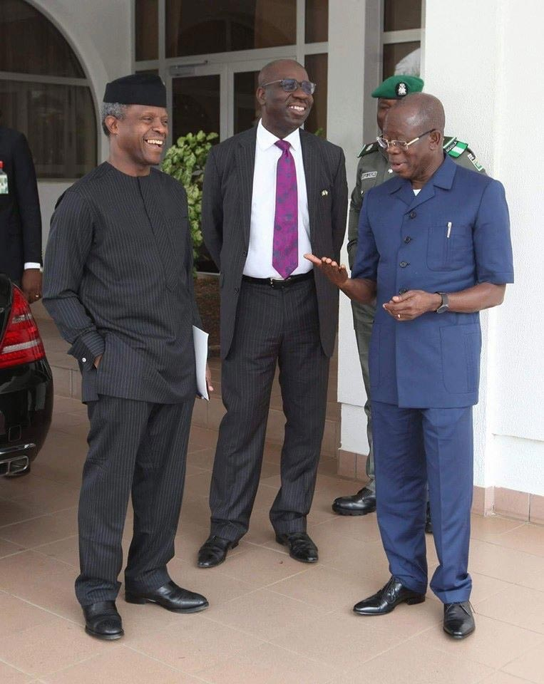 Caption this photo of Osinbajo, Oshiomhole and Obaseki