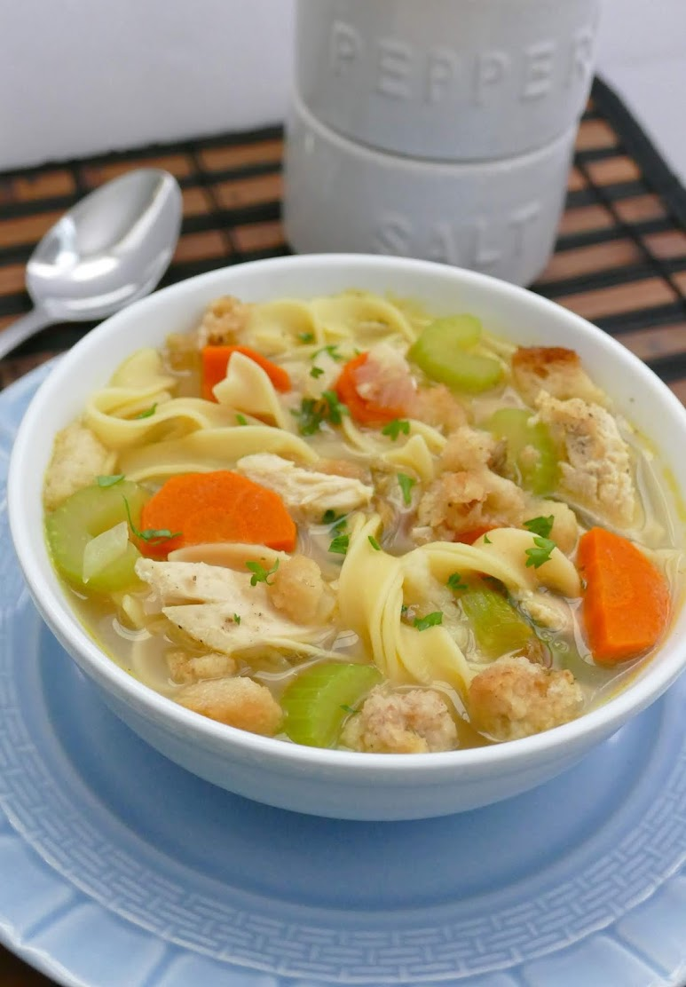 This soup is a perfect way to use your leftover Thanksgiving turkey and stuffing! Pure comfort food and SO delicious! Also great with chicken instead of turkey!