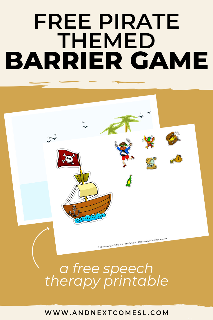 Free speech therapy barrier game: pirate themed