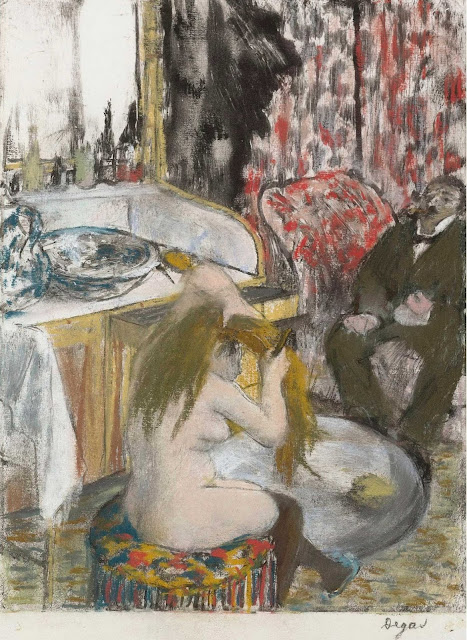 Эдгар Дега - Обнажённая женщина, расчёсывающая свои волосы (1877-1879)