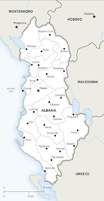 Peta Wilayah Negara Albania