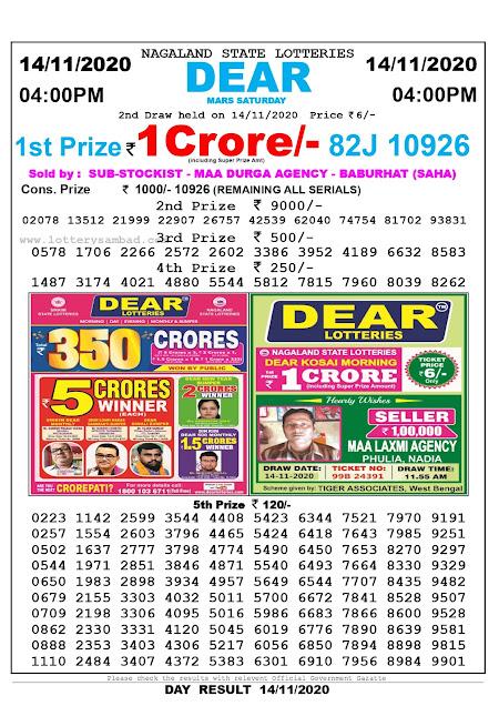 Lottery Sambad 14-11-2020 Today Results 4:00 pm, Nagaland State Lottery Sambad Today Result 4 pm, Sambad Lottery, Lottery Sambad Live Result Today