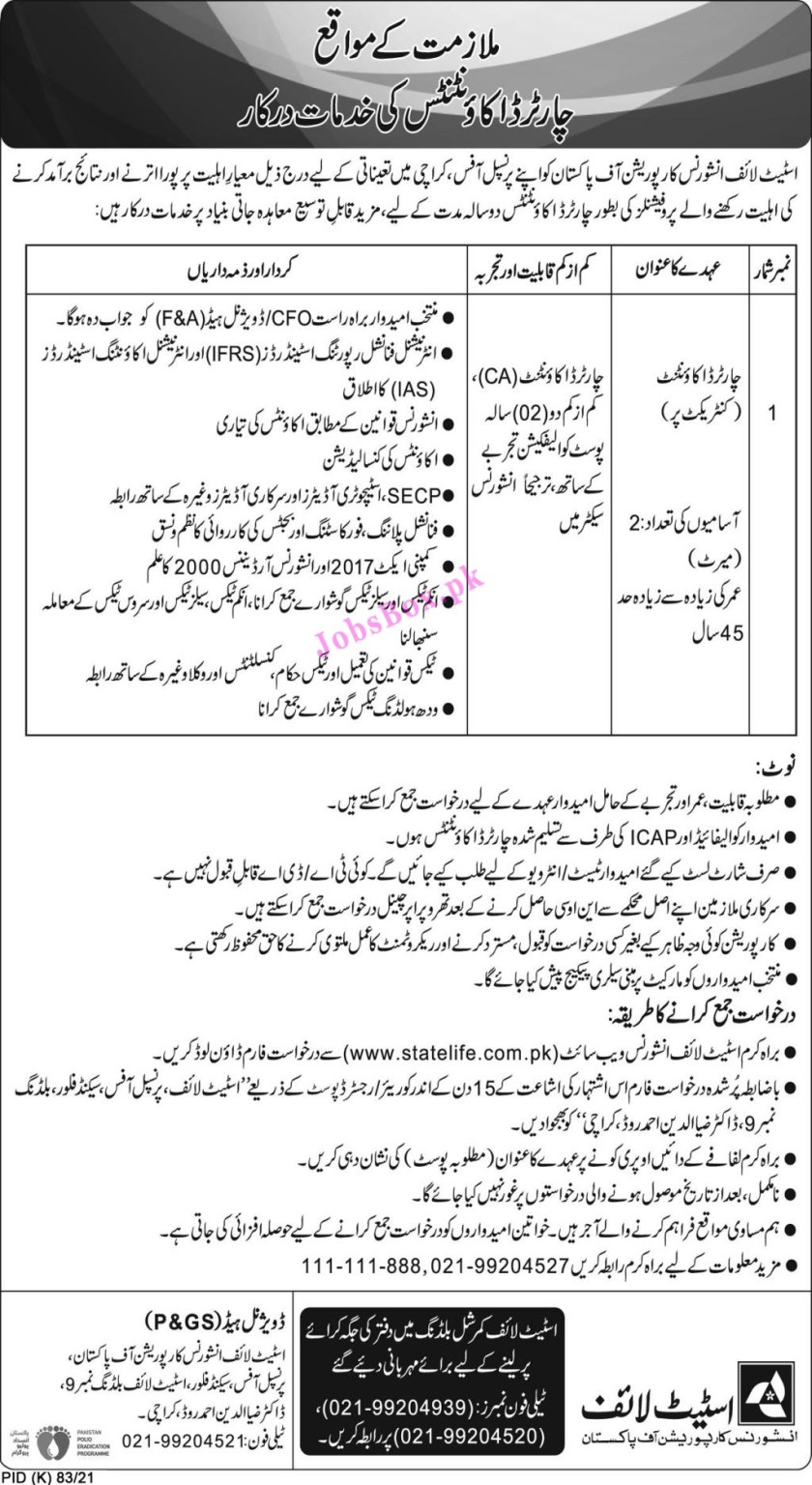 State Life Insurance Corporation Of Pakistan Jobs 2021 – www.statelife.com.pk