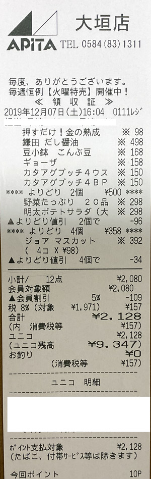 アピタ 大垣店 2019/12/7 のレシート