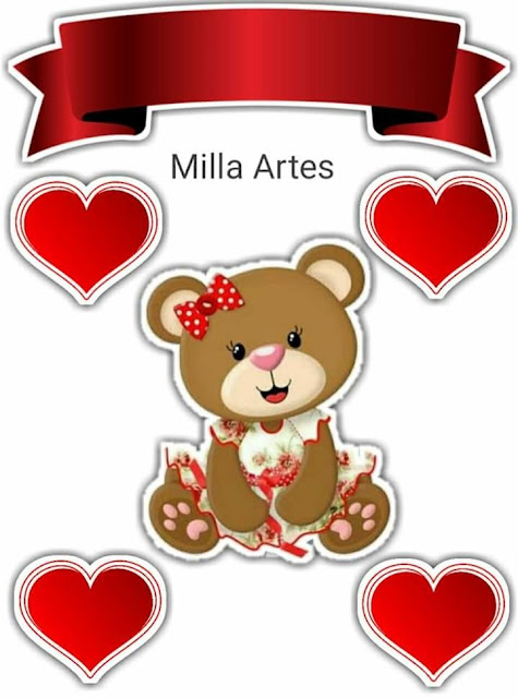 Bear Girl with Red Hearts: Free Printable Cake Toppers.