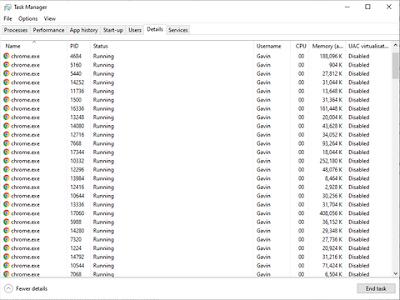 Tampilan menu Chrome sedang berjalan di komputer