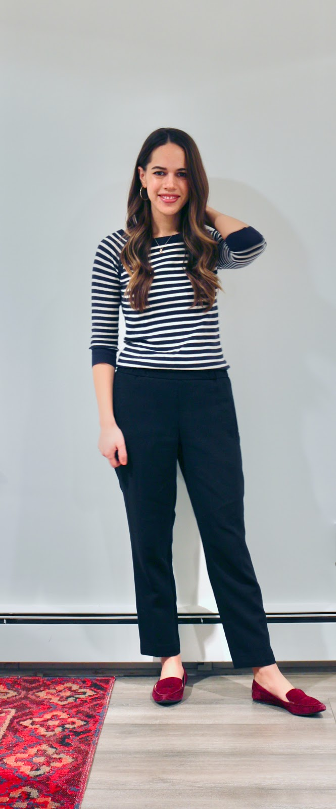 Jules in Flats - Striped Sweater with Aritzia Darontal Dress Pants (Business Casual Winter Workwear on a Budget)