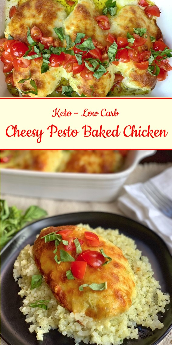 Cheesy Pesto Baked Chicken #Keto #LowCarb #Chicken #Cheese #Pesto #Baked