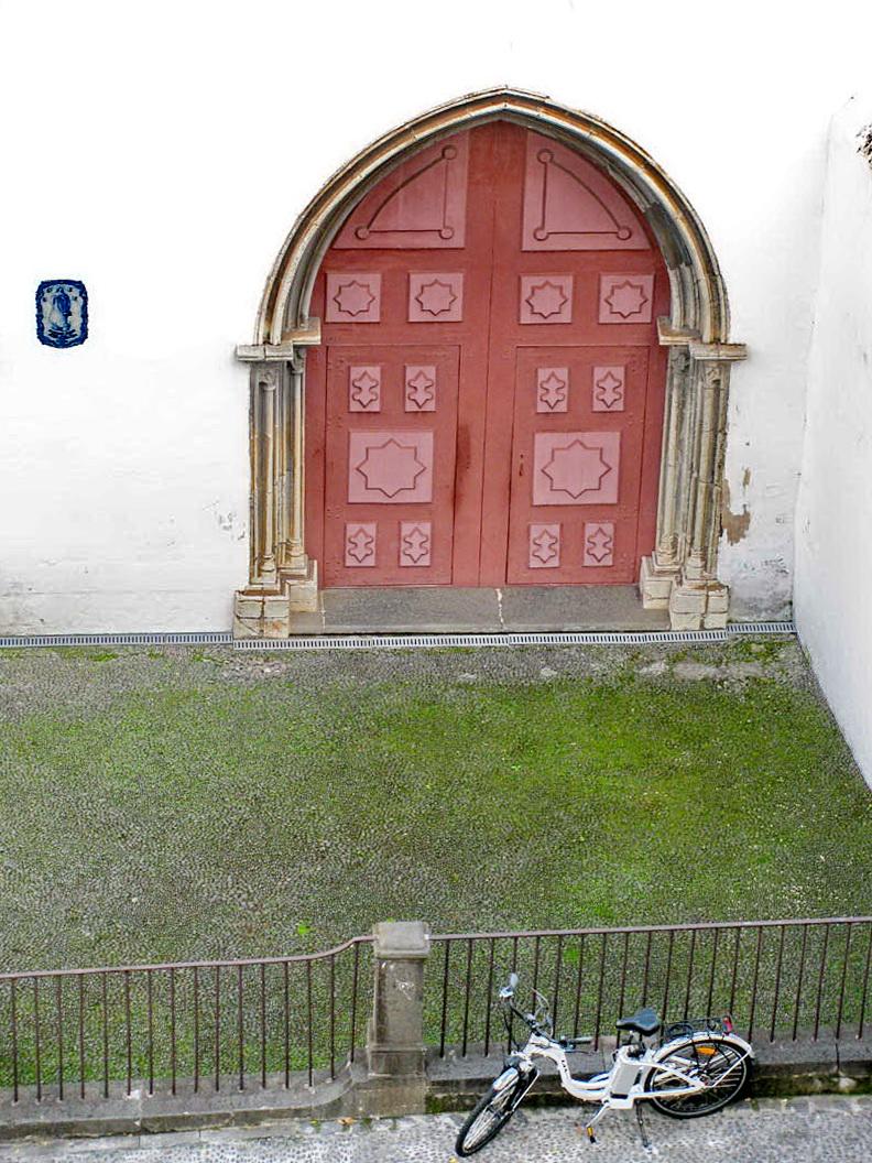 a bike and a church