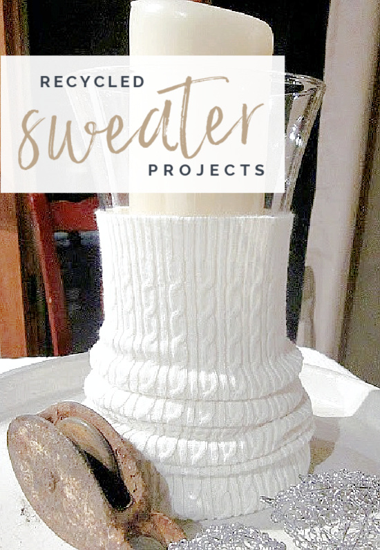 sweater candle cozy with Pinterest overlay