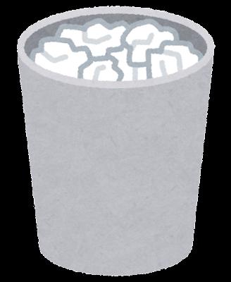 ゴミ箱のイラスト(満杯・丸)