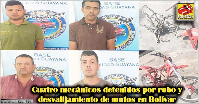 Cuatro mecánicos detenidos por robo y desvalijamiento de motos en Bolívar