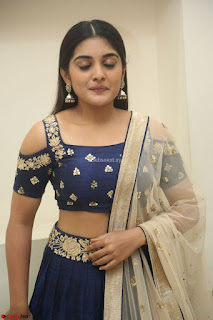 Niveda Thomas in Lovely Blue Cold Shoulder Ghagra Choli Transparent Chunni ~  Exclusive Celebrities Galleries 073