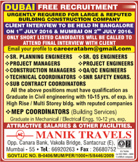 Free recruitment to large construction company in Dubai