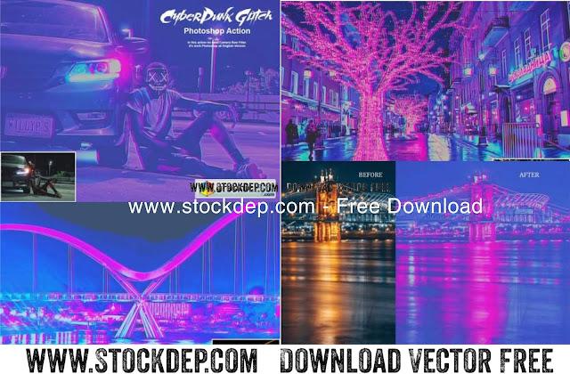 Free CyberPunk Glitch Photoshop Action 5302804