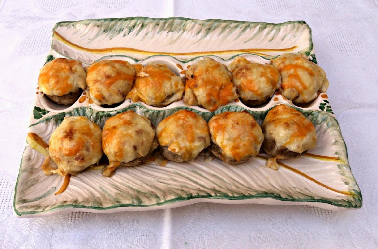 receta casera champiñones rellenos, bechamel boletus