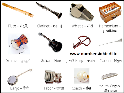 Musical instruments name in hindi