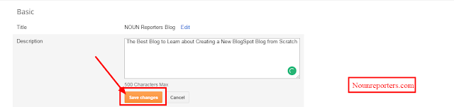 Type your Blog Tagline and Click save changes