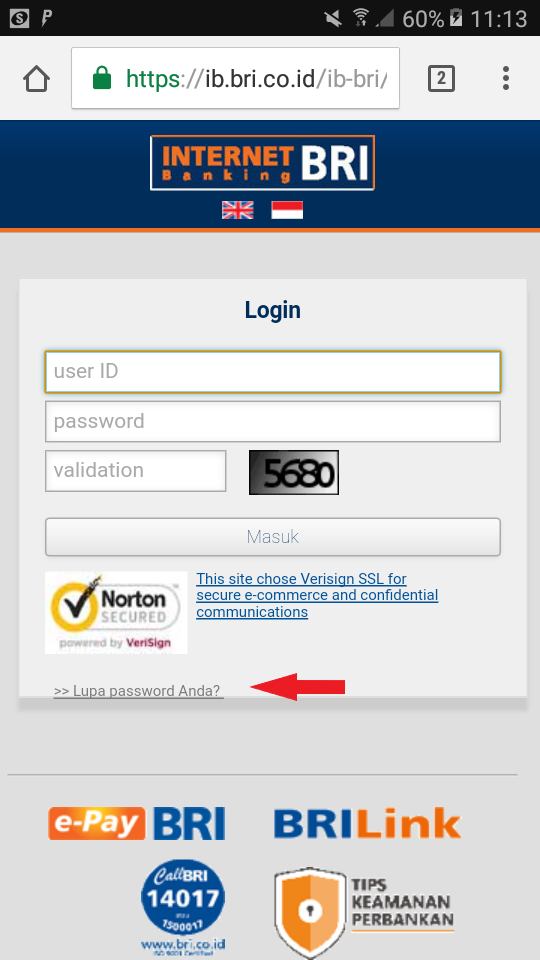 Lupa Password Login https://ib.bri.co.id