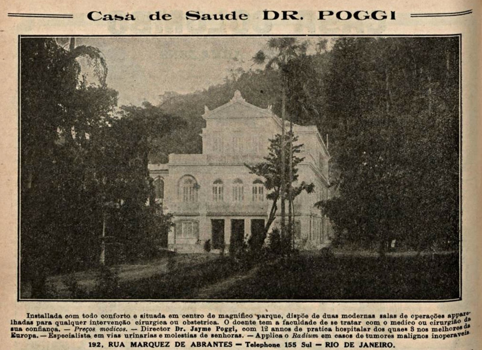 Propaganda antiga da Casa de Saúde Dr. Poggi no Rio de Janeiro veiculada em 1921