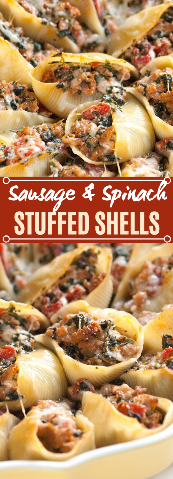 Sausage Stuffed Shells with Spinach #dinner #easy