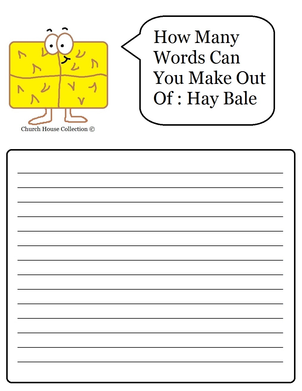 what word can i make out of these letters church house collection hay bale sunday school 25599 | How many words can you make out of hay bale worksheet printable
