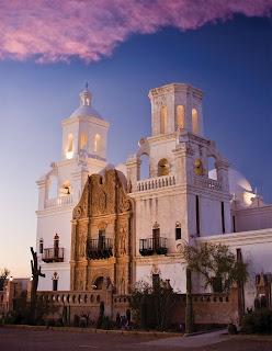 White and tan Spanish mission church- San Xavier, Tucson, AZ