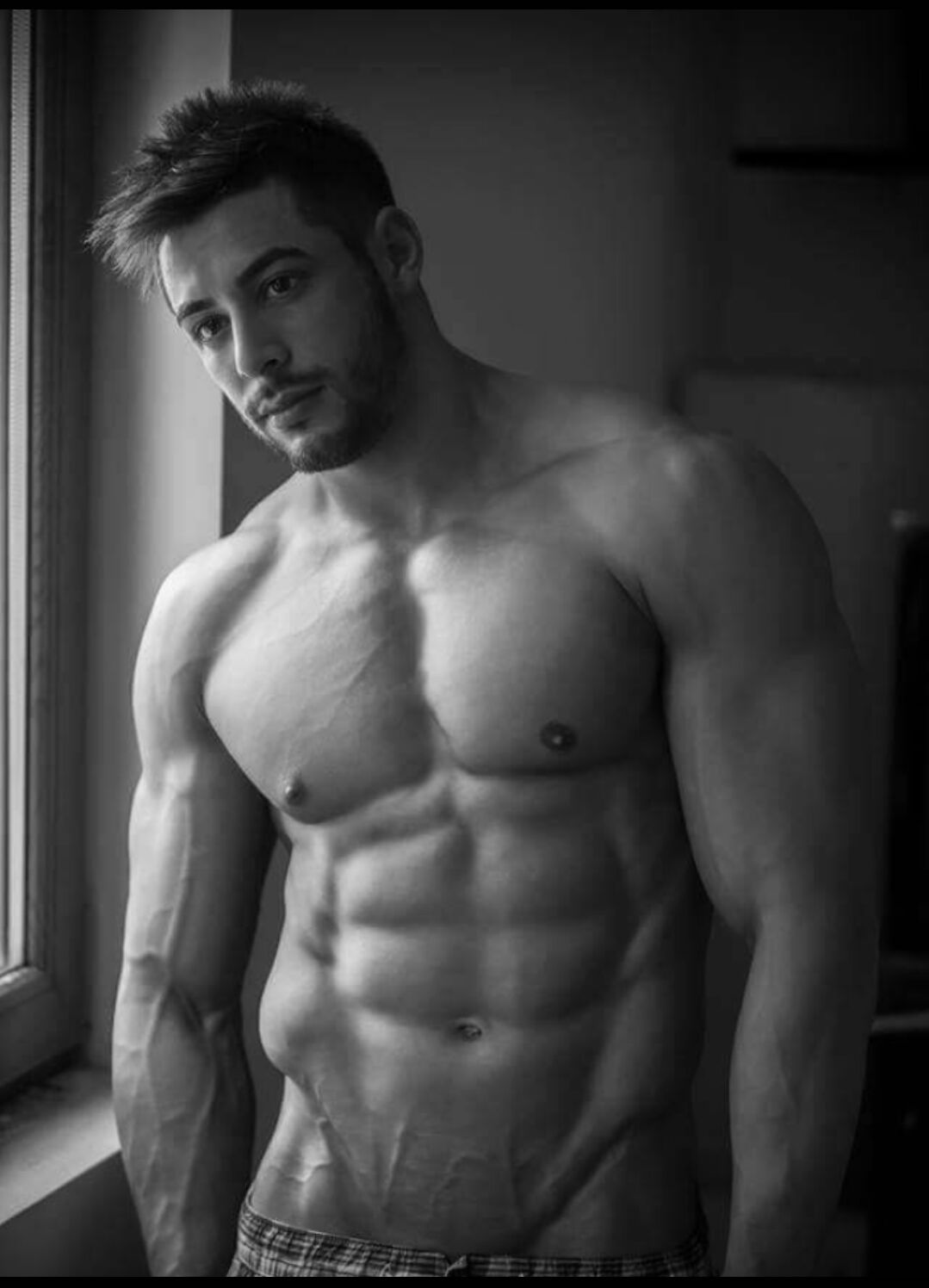 Nude male muscle models