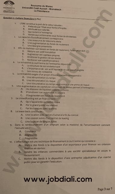 Exemple Concours Administrateurs 2ème grade Finance - Université Cadi Ayyad
