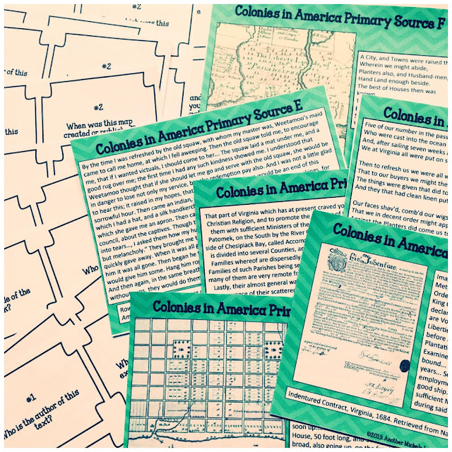 Elementary school teachers, Explore Early America with your students while analyzing primary sources, using task cards to encourage inquiry, and facilitating group collaboration. #elementaryteachers #teachinginquiry #criticalthinking #primarysourceanalysis