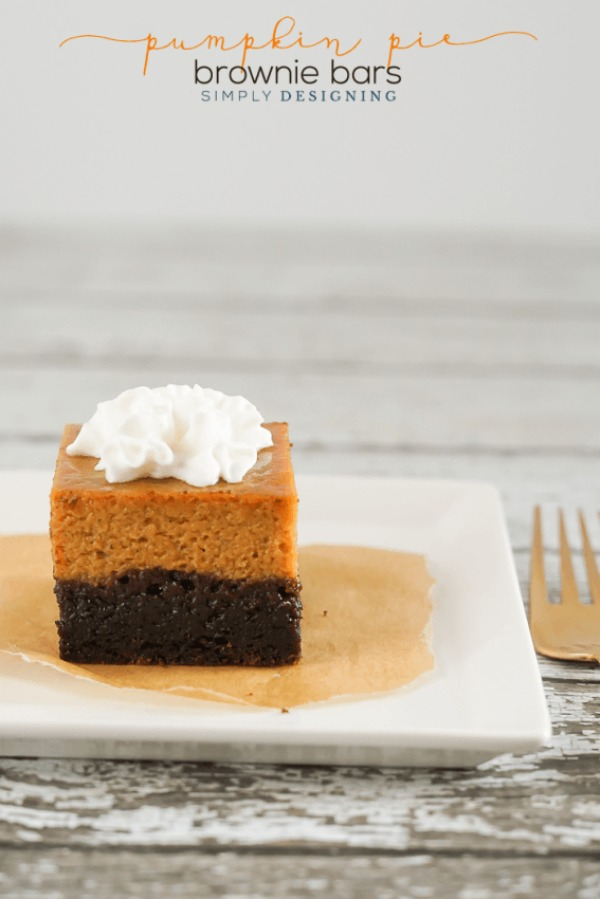 Pumpkin Pie Brownie Bars from Simply Designing