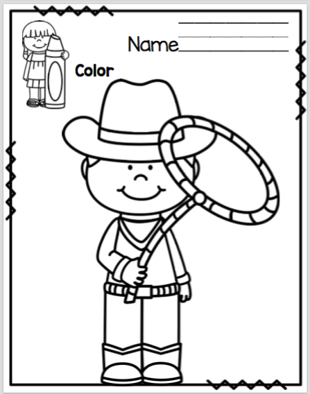 Cowboy Theme Coloring and Scissor Practice