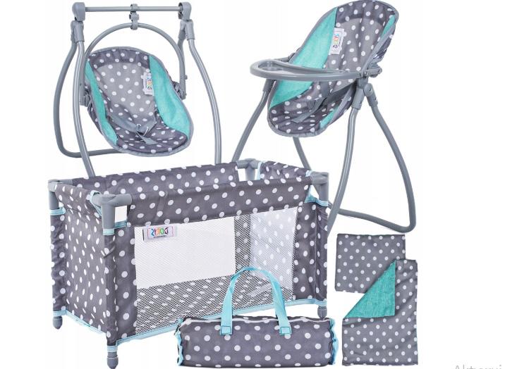 Krzesełko do karmienia dla lalki, leżaczek dla lalki, łóżeczko dla lalki