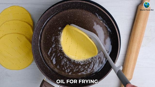 frying taco dough