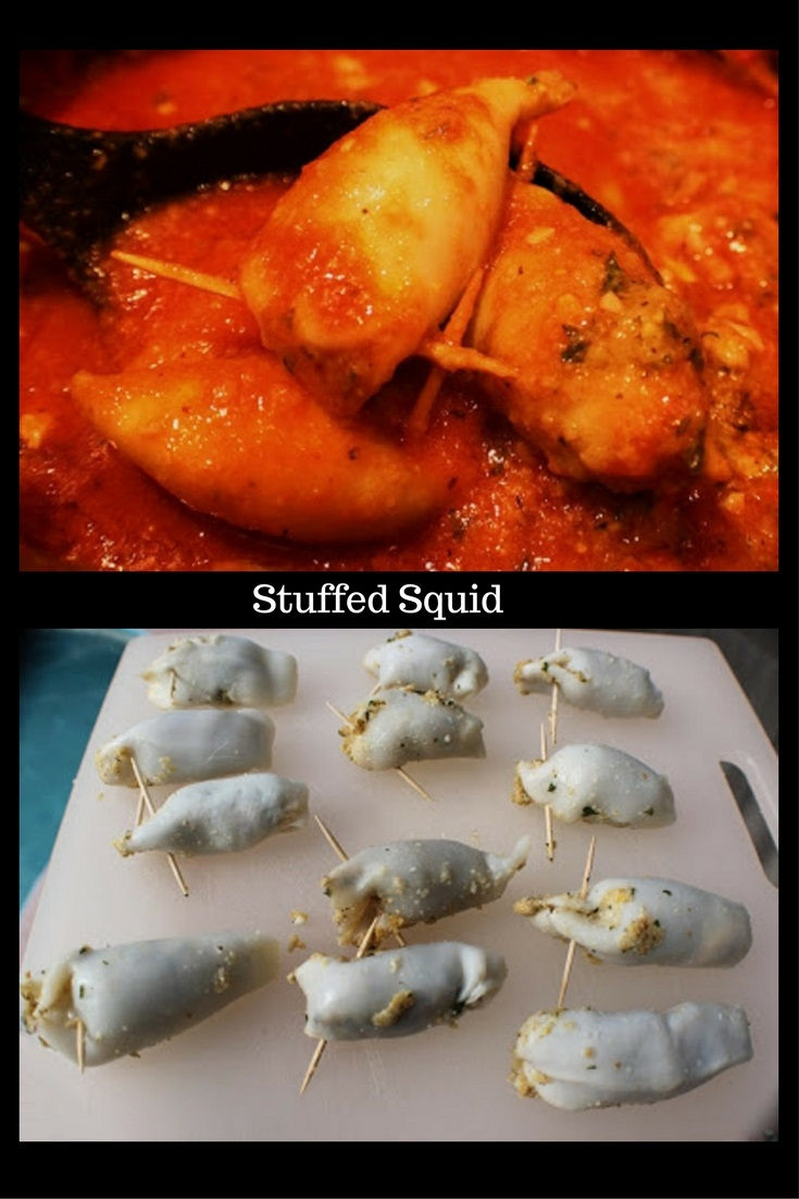 this is how to make one of the 7 fish on Christmas Eve Stuffed Calamari. This calamari is in a rich tomato sauce that has a stuffing inside and is an Italian tradition on Christmas Eve.