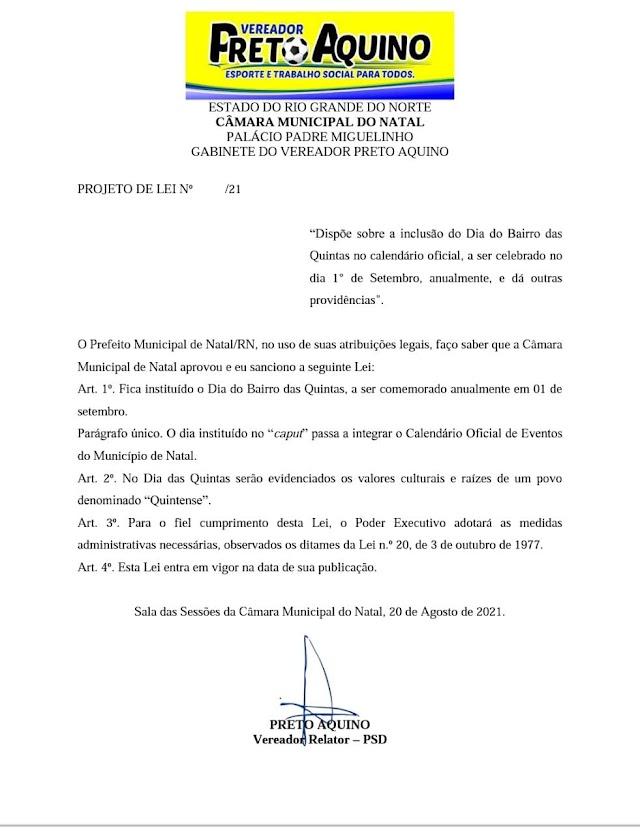 PROJETO DE LEI CRIA HOMENAGEM AO BAIRRO DAS QUINTAS
