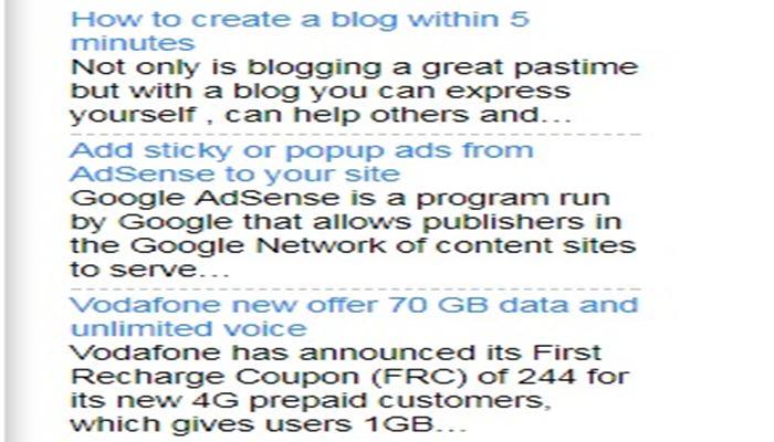 Recent posts gadget for blogger using feed burner