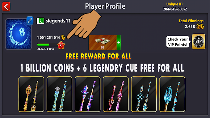 8 Ball Pool 1 Billion Coins + 6 Legendary Cues Reward Link