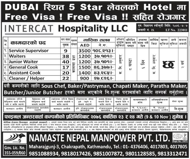 Jobs in Dubai 5 Star Hotel for Nepali, salary Rs 1,08,213