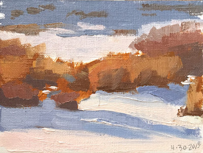 mini painting color study of bushes in snow Apr 30 2019