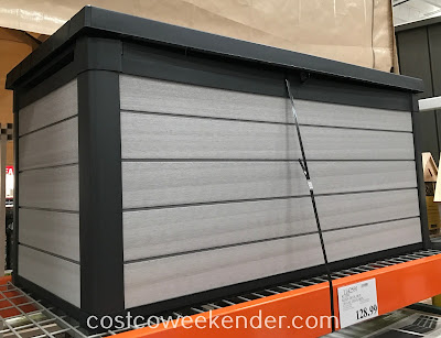 Keep patio cushions and outdoor pillows looking new while storing them in the Keter Denali 150 Resin Deck Box