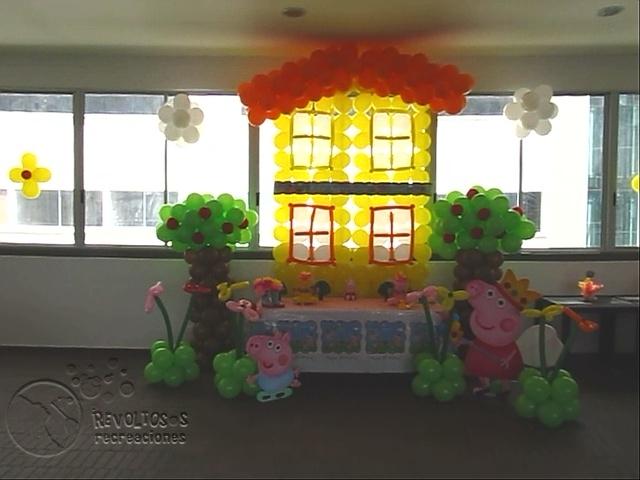 Decoracion fiesta peppa pig medellin fiestas infantiles - Decoracion fiestas infantiles en casa ...