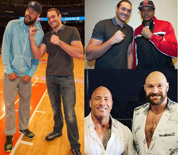 Tyson Fury standing with various people