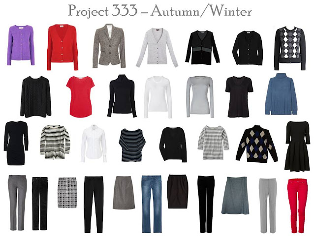 a 33 piece Project 333 Wardrobe for autumn and winter